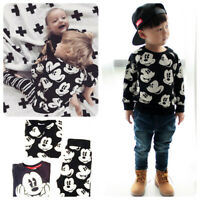 2pcs Newborn Toddler Kids Baby Boys Mickey Outfits Tops + Pants Kids Clothes Set
