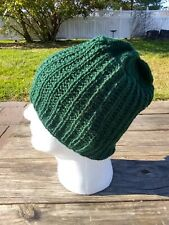Mens Hat Hand Knitted Dark Green Wool Rib Beanie Slouch Hiking Skiing Soccer