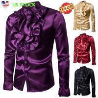 Men's Silk Satin Ruffle Dress Shirt Long Sleeve Gothic Steampunk Tops Costume US