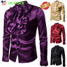Men's Silk Satin Ruffle Dress Shirt Long Sleeve Gothic Steampunk Tops Costume US