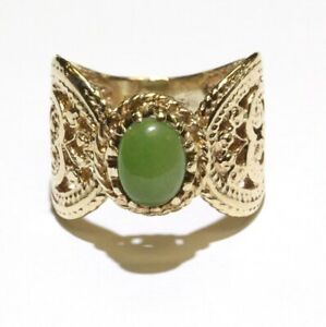 14k yellow gold womens fancy green oval lapis ring 9.3g unique rare size 7.5