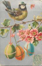 Easter vintage fantasy postcard bird eggs cherry blossoms oiseau