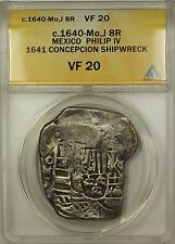 (c.1640-Mo) J Mexico 8R Silver Cob Coin Philip IV (See description) ANACS VF-20