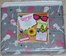 My Room Teen Girl  ROCK & ROLL Music Pink White Guitar 3-pc TWIN Sheet Set NIP