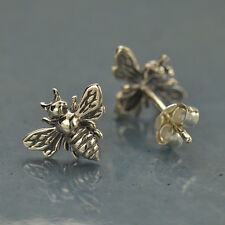 Bee Bumblebee Stud Post Earrings Honeybee Sterling Silver Honey Bee Cottage Chic