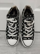 New listing Size 4 Converse All-Star Black With White Stars Excellent Condition Unisex Shoes
