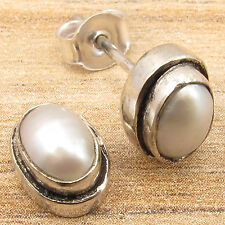 925 Silver Plated Extra Ordinary Gift Aaa Quality Natural Pearl Stud Earrings,