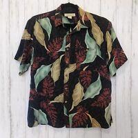 Island Republic - Mens XL Hawaiian Shirt - 100% Silk - Aloha - Black Red Green