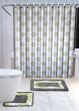 13Pc Thea Sage Green Printed Design Bathroom Fabric Shower Curtain Set Hook