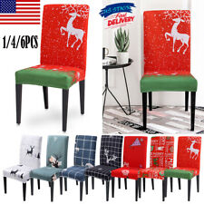 1/4/6PCS Christmas Decor Chair Covers Seat Cover Santa Claus Home Party Decor US