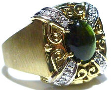 JOHN C RINKER JCR GREEK ETRUSCAN 14K YELLOW GREEN TOURMALINE DIAMOND SQUARE RING