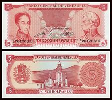 Venezuela  5  Bolívares  21-9-1989  Pick 70b (Serie de 8 dígitos) .SC = UNC