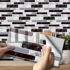 9pcs Black White Marble Mosaic Adhesive Bathoom Kitchen Wall Tile Stair Sticker