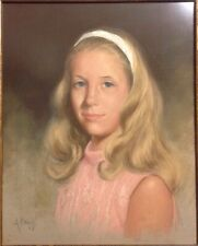 A. Cruz American Pastel Portrait Painting Pretty Young Blond Girl Signed Miami