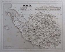 Carte Département La Vendée gravée sur acier par Alés Petit Atlas National