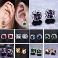 Luxury Rainbow Topaz Birthstone Square Ear Stud 925 Silver Women Earring Jewelry