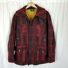 Woolrich Wool Mackinaw Red Buffalo Plaid Hunting Jacket Mens 44 Vintage 40s 50s