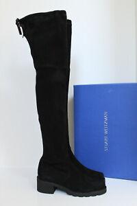 8.5 M Stuart Weitzman Eldridge Black Suede Over The Knee Black Leather Boot Shoe