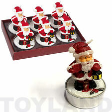 6 x FATHER CHRISTMAS TEALIGHT CANDLES SECRET SANTA XMAS GIFT TABLE DECORATION