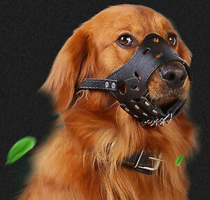 New Strong Leather Dog Muzzle Adjustable Anti-biting Barking Biting Pet Safety