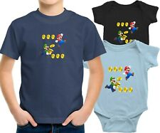 Toddler Kids Tee T-Shirt Infant Baby Bodysuit Print Cute Mario and Luigi Coin