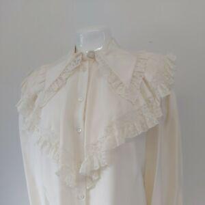 Vintage Gina Fratini Silk  Blouse new romantic  victorian style Rare Designer
