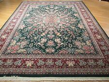 9x12 Persian Fine Tabriz Pastel Forest Green Handmade-knotted Wool Rug 580545