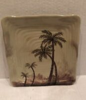 "Tabletops Unlimited Set Of 12 Square 8 3/4"" Palm Tree Plates"