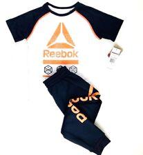 Reebok Boys Tee Shirt and Jogger Pants Set Sz 6 White Grey Orange Cotton Fleece
