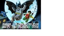 "PERSONALISED BATMAN LEGO BIRTHDAY CAKE TOPPER A4 Icing Sheet 10""x 8"" ANY NAMEage"