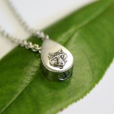 Sterling Silver Wolf Head Tear Drop Cremation Urn Necklace 476