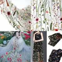 1 Yard Floral Flower Embroidery Mesh Wedding Bridal Veil Lace Fabric Dress