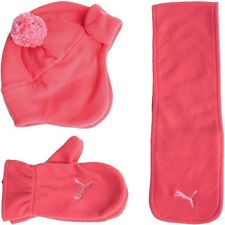 9d4e17b86 Puma Mini Cats Winter Set Baby boys or girls rose blue cap scarf gloves  Fleece