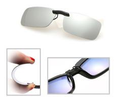 Silver Mirror Polarized Clip On Driving Glasses Sunglasses Day Vision UV400 Lens
