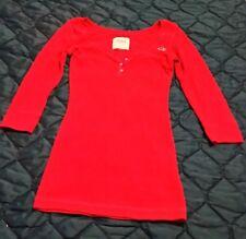 Hollister Girls Long Sleeve button polo shirt Red S