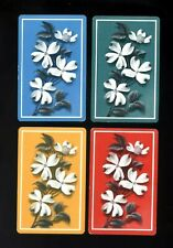 4 Vintage Retro Swap Playing Cards SPRIG OF LARGE WHITE FLOWERS RED YELLOW BLUE