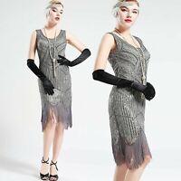 Vintage Silver Unique 1920s Flapper 20s Great Gatsby Dress Fringed Sequin Art De