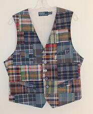 Polo Ralph Lauren ~ Art to Wear Hand Woven Madras~ Mens Vest Waistcoat Sz M