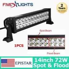 14Inch 72W LED Light Bar SPOT& FLOOD Bulbs Off-road SUV 4WD Truck EPISTAR 15/16