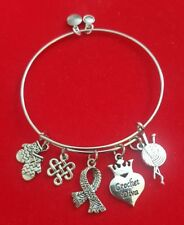 """Silver """"Crochet Diva"""" Themed Charm Bracelet"""