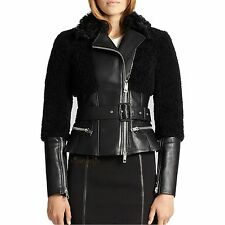 $3795 BURBERRY LONDON OXVALE LEATHER & SHEARLING JACKET BLACK 4 US 38 EU