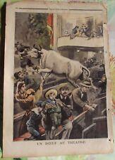 Ancienne Gravure Illustration de 1896 un Boeuf au Théâtre