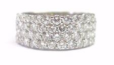 Fine Round Brilliant Diamond WIDE 4-Row Band Ring White Gold 2.03CT