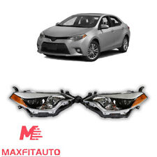 Fits for 2014-2016 Toyota Corolla Headlights Black Factory Style Pair LH RH