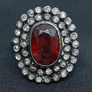Antique 3.00ctw Old Rose Cut F-SI Diamond & Mozambique Ruby Silver Ring Size 6.5