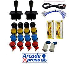 Kit Arcade x2 American Joysticks Negros 16 botones + 2player Encoder USB Bartop