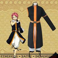 Japanese Anime Fairy Tail Natsu Dragneel Cosplay Costume Coat Halloween Mens