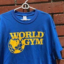 World Gym Large Logo TM Blue T-Shirt - Size Men's XL