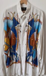 JOHNNY HALLYDAY CHEMISE INDIENNE VINTAGE VISCOSE TAILLE XL WESTERN PASSION