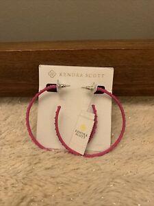 NWT Kendra Scott Val Hoop Earrings Matte Magenta Iridescent Crystal